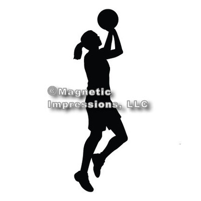 Basketball Female Car Magnet in Black