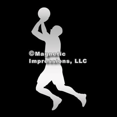 Basketball Player Men's Car Magnet in Chrome