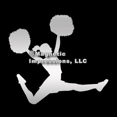 Cheerleader with Poms Car Magnet in Chrome