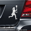 Lacrosse Female Player Car Magnet in Chrome
