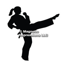 Martial Artist Female Car Magnet in Black
