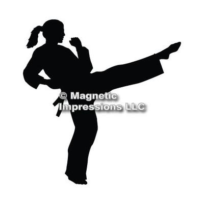 Martial Artist Female Car Magnet in Black