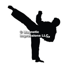 Martial Artist Male Car Magnet in Black