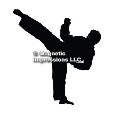 Martial Artist Male Car Magnet in Black