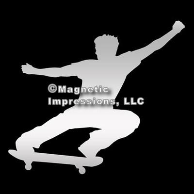 Skateboarder Male Car Magnet in Chrome