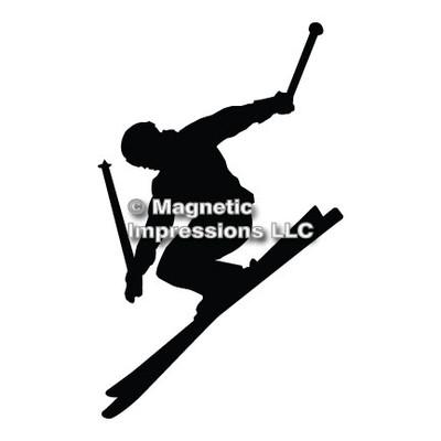 Alpine Skier Car Magnet in Black