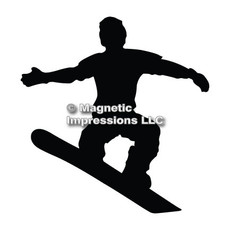 Snowboarder Male Car Magnet in Black