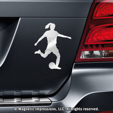 Soccer Player Female Car Magnet in Chrome