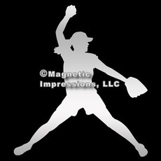 Softball Pitcher Car Magnet in Chrome