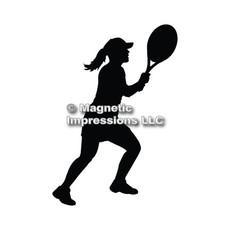 Tennis Player Women's Car Magnet in Black