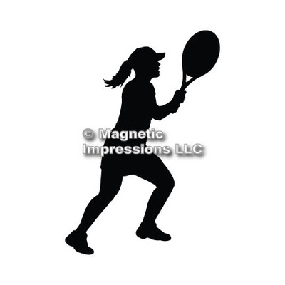 Tennis Player Women's Car Magnet in Black