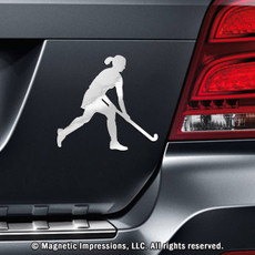 Field Hockey Player with Skirt Car Magnet in Chrome