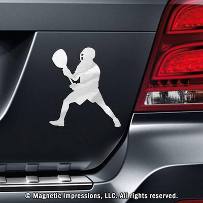 Lacrosse Goalie Male Car Magnet in Chrome