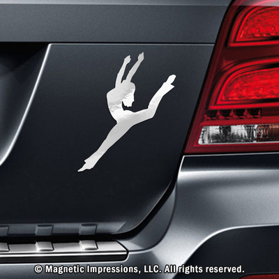 Contemporary Jazz Dancer Car Magnet in Chrome