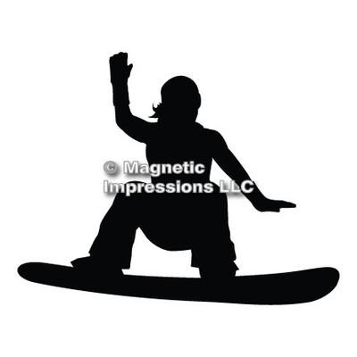 Snowboarder Female Car Magnet in Black