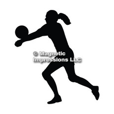 Volleyball Player Female Car Magnet in Black