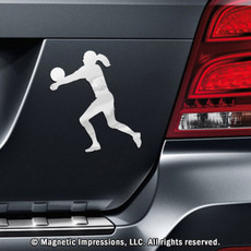 Volleyball Player Female Car Magnet in Chrome