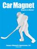 Ice Hockey Player Female Car Magnet in Chrome