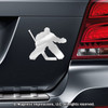 Ice Hockey Goalie Car Magnet in Chrome
