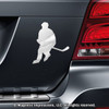 Roller Hockey Player Car Magnet in Chrome
