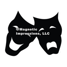Comedy Tragedy Mask Car Magnet in Black