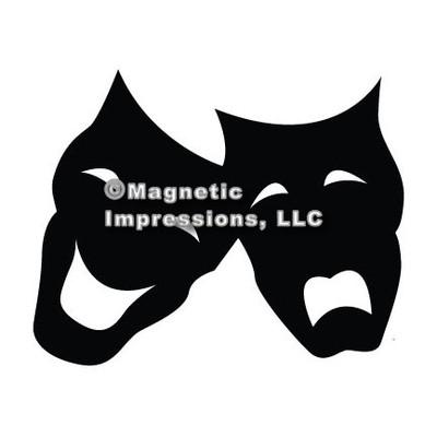 Comedy Tragedy Mask Car Magnet in Black