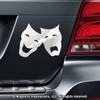 Comedy Tragedy Mask Car Magnet in Chrome