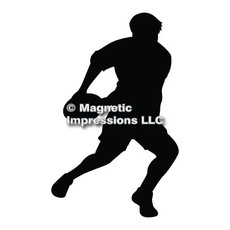 Rugby Player Car Magnet in Black