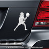 Lacrosse Goalie Female Car Magnet in Chrome