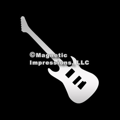 Electric Guitar Car Magnet in Chrome