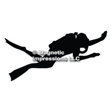 Scuba Diver Car Magnet in Black