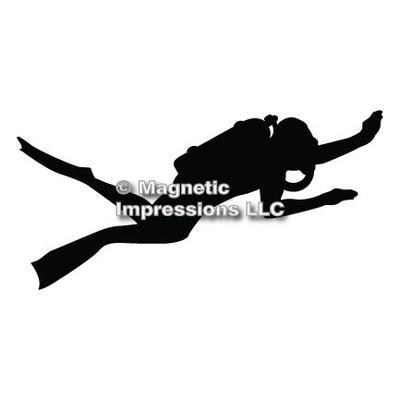 Scuba Diver Car Magnet in Black