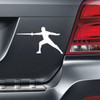 Fencer Male Car Magnet in White