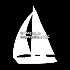 Sailboat Car Magnet in White