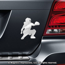 Softball Catcher Car Magnet in Chrome