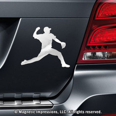 Baseball Pitcher Car Magnet in Chrome