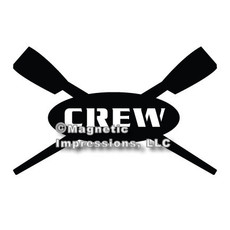 Crew Rowing Car Magnet in Black