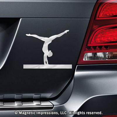 Gymnast Female Handstand Car Magnet in Chrome