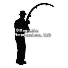 Fisherman Car Magnet in Black