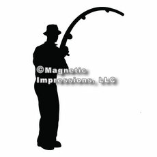 Fisherman Car Magnet in Black