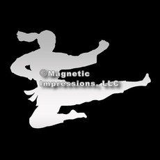 Martial Artist Jumping Female Car Magnet in Chrome