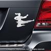 Martial Artist Jumping Female Car Magnet in Chrome