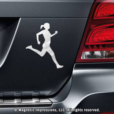 Runner Female Car Magnet in Chrome