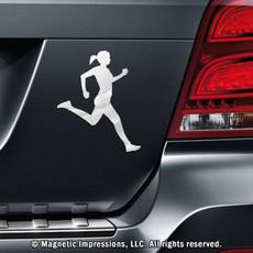 Runner Female Car Magnet in Chrome