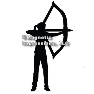 Archery Recurve Bow Women's Car Magnet in Black