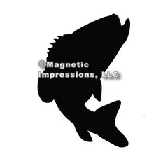 Bass Fish Jumping Car Magnet in Black