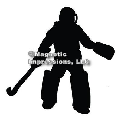 Field Hockey Goalie Car Magnet in Black