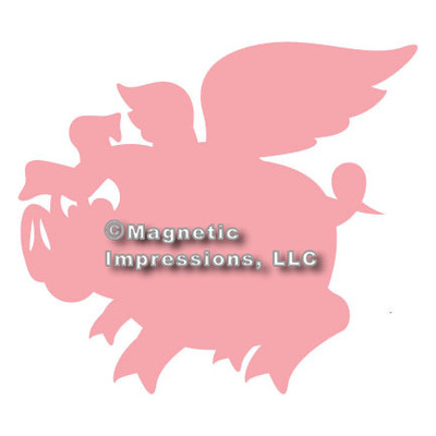 Flying Pig Car Magnet in Pink