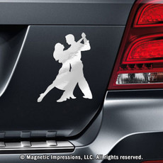 Ballroom Dancers Car Magnet in Chrome