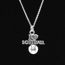 I Love Softball Sterling Silver Charm